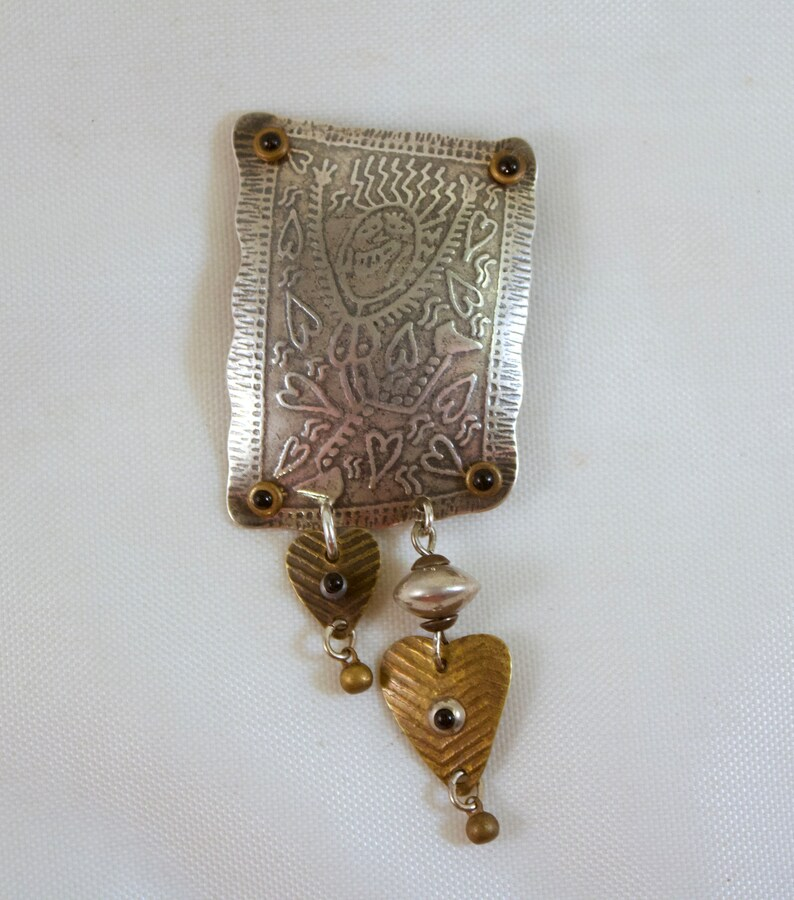 Millodot Jane Carpenter Sterling Silver and Brass Handcrafted Brooch with Figural Dancer and Hearts