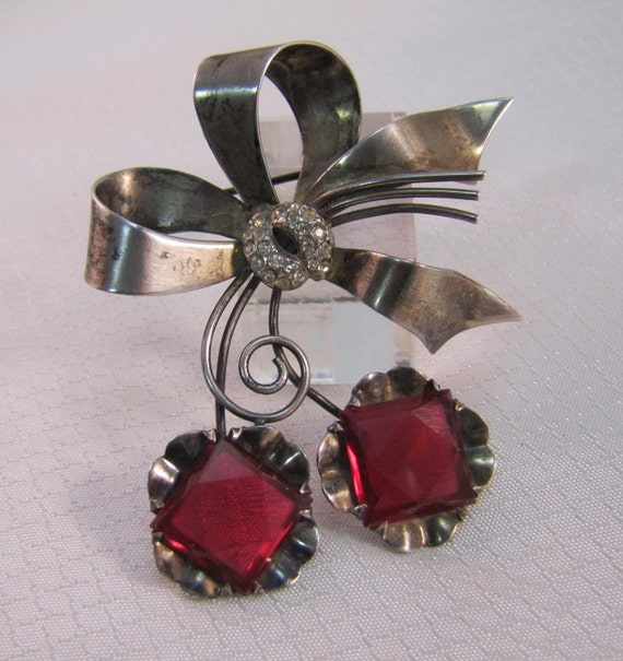 1940's Sterling Holiday Ribbon Brooch With Red Gla