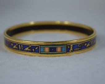 c1980's Michaela Frey 24kt Gold Plated Enameled Bangle Bracelet, Egyptian Revival Design