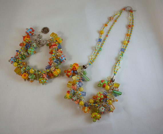 Lamp Work Glass Bead Necklace and Bracelet Set - image 2