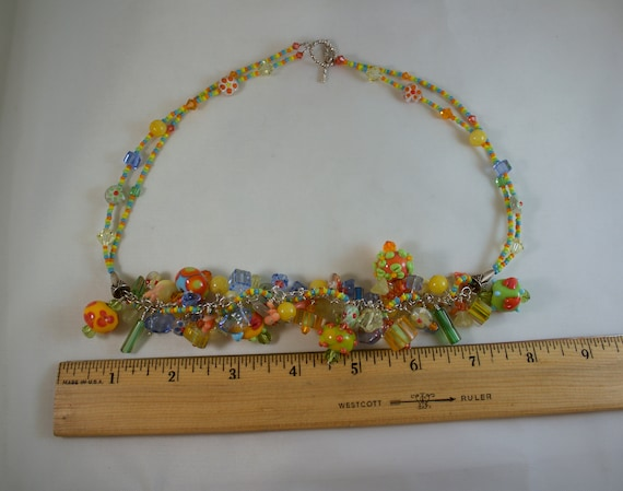 Lamp Work Glass Bead Necklace and Bracelet Set - image 5