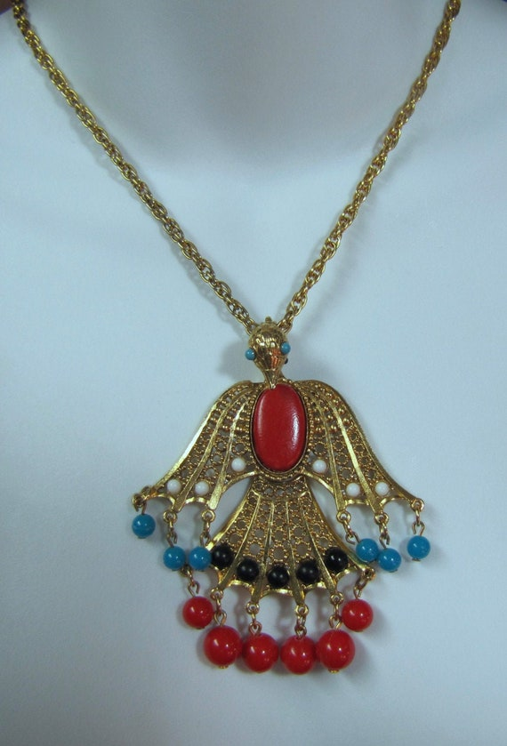 1960's Rising Phoenix Pendant and Gold Plated Chai