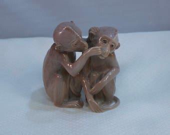 1970's Bing and Grondahl, Ingeborg Plockross-Irminger Porcelain Monkeys Figurine