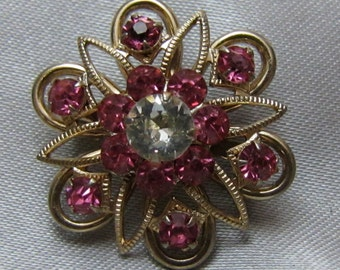 1950's Pink and Clear Center Rhinestone Starbust Brooch