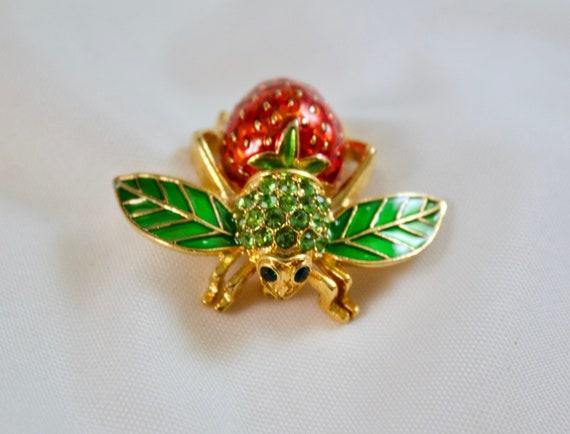 Vintage Joan Rivers Strawberry Bee Brooch