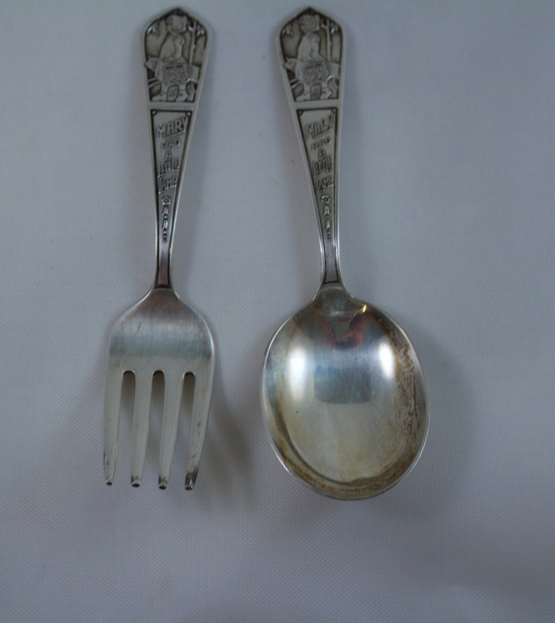 Mary Had Little Lamb Sterling Childs Fork and Spoon Rogers Sterling Baby Spoon
