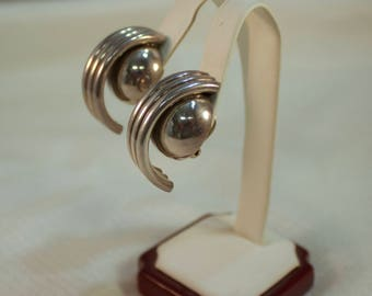 Taxco Sterling Modernist Circular Tubes and Ball Clip Earrings