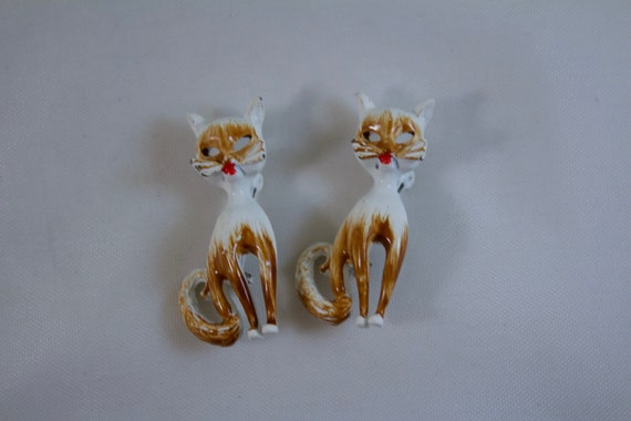 1950's Enameled Cat Pins, Alley Cat Pins
