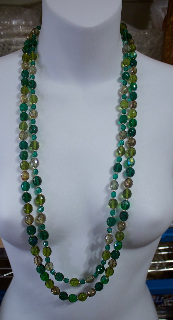 """Pair of Joan Rivers Green Beaded 31"""" Necklaces"""