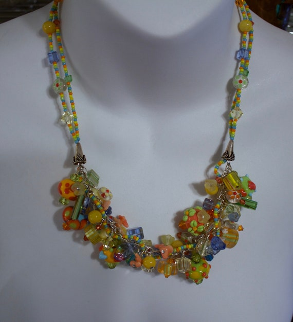 Lamp Work Glass Bead Necklace and Bracelet Set