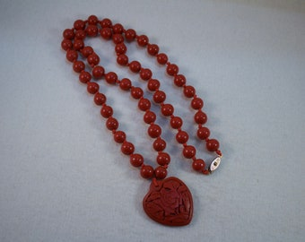 Vintage Chinese Carved Red Cinnabar Beaded Necklace with Carved Heart Pendant
