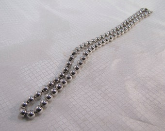 """1980's Dobbs Boston Sterling 7mm Beaded 18"""" Necklace"""