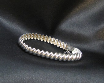 Vintage Sterling Macaroni Link Bracelet