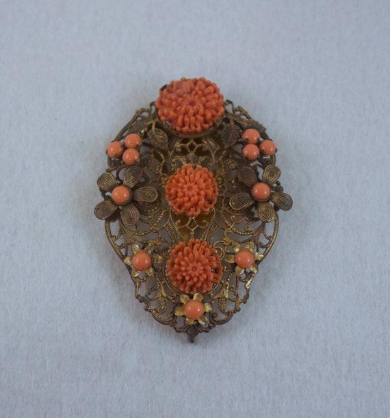 1930's Art Deco Orange Coral Celluloid Flower Dres