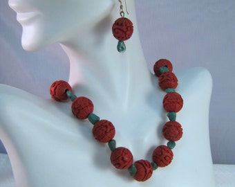 Chinese Carved Red Cinnabar and Green Turquoise Nugget Necklace and Earrings