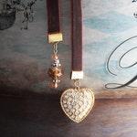 Bookmarker Golden Heart with Brown Velvet