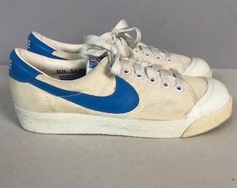 huge discount e8c6a d3308 RARE Vintage NOS 1980s 1982 Original Nike White Canvas Blue Swoosh Shoes   Boys 3 Half  80s Retro Sports Nike Shoes Thailand