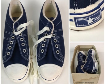 bc11fa9e7032 Choose Size Kids   Vintage NOS 1970s Converse Blue Label Straight Shooters  Blue Basketball Shoes   Toddler Youth Sizes   70s Retro Lace Up