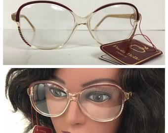 fd6fd2cf5700 Vintage NOS 1980s Paola Belle Burgundy Stripe Oversized Round Eyeglasses /  Women's Large / 80s Designer Hipster Eyewear Unworn