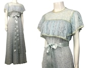 1970s Lace Godess Dress Baby Blue Tiered Tie Belted Long Dress Women s Medium
