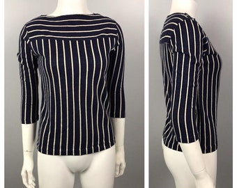 22626aaf033 1960s Shirt   Navy white Stripe Cotton Boatneck Blouse   Women s XS