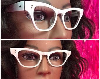 83f96fccad8 Vintage NOS Deadstock 1950s 60s White Marbled Cat Eye Eyeglasses Frames   50s Designer Onyx Cateye Eyewear Rockabilly Pinup France