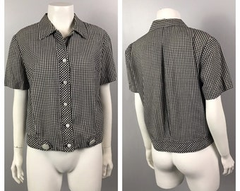 447625e70513d Vintage 1950s Black and White Cotton Gingham Crop Top Blouse   Women s  Large   50s Rockabilly Cropped Button Up Shirt
