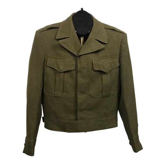 1940s Military Jacket / 40s WWII Era Cropped Butto
