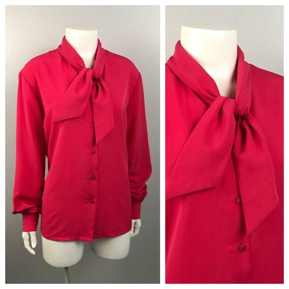 1980s Pink Blouse / Pendleton Button Up Secretary