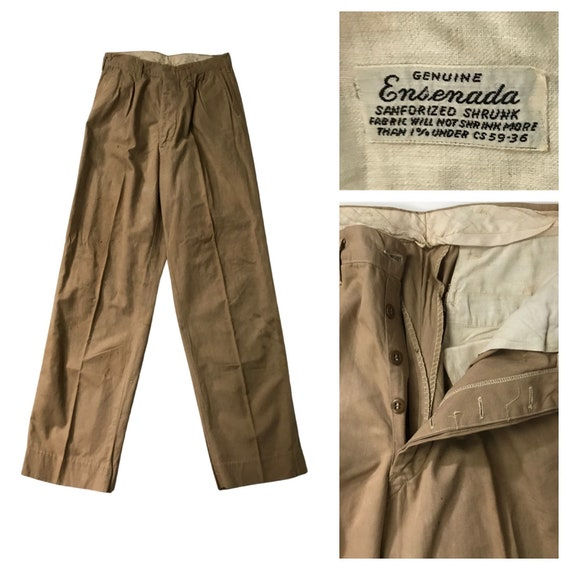 1930s Button Fly Work Pants / 30s Ensenada Khaki W
