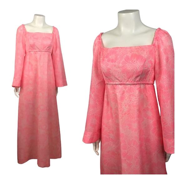 1960s Hawaiian Dress / 60s Pink Floral Maxi Goddes