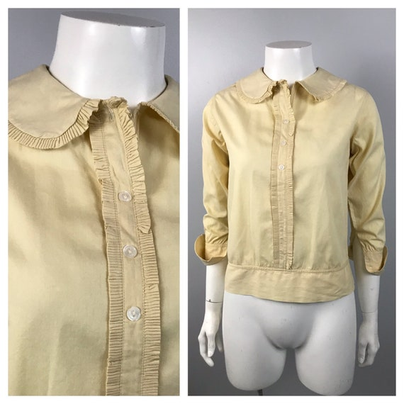 1930s Blouse Top / 30s Creme Ruffled Cotton  Butto