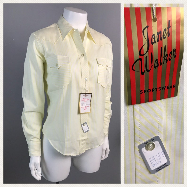 73e25257925ff9 Vintage NOS 1960s Stripe Oxford Button Up Fitted Blouse Shirt