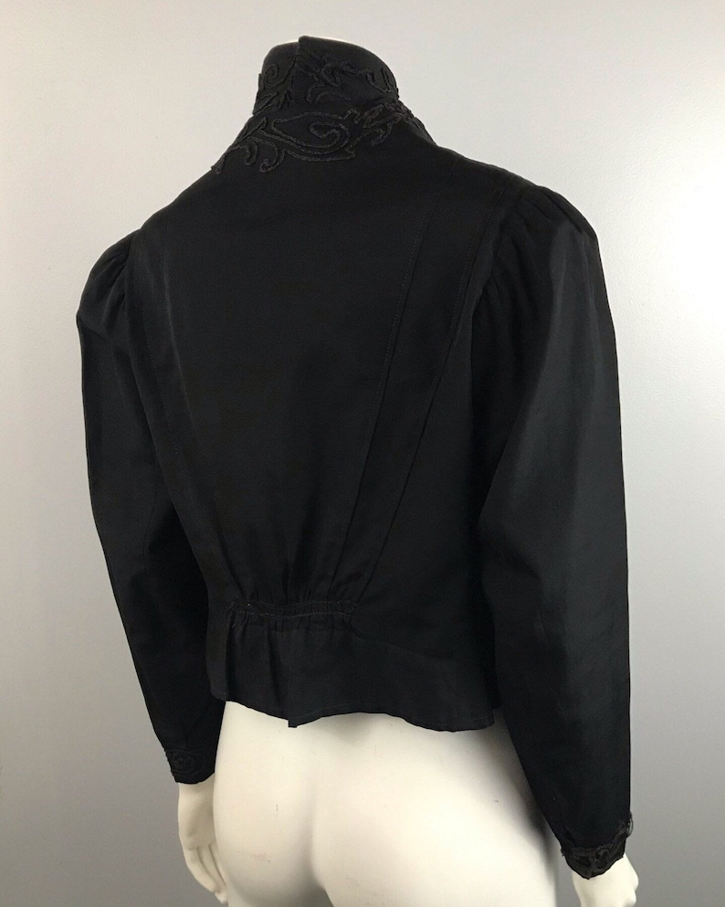 1910s Blouse Top  Antique Black Cotton High Neck Embroidery Shirt  Women\u2019s Small