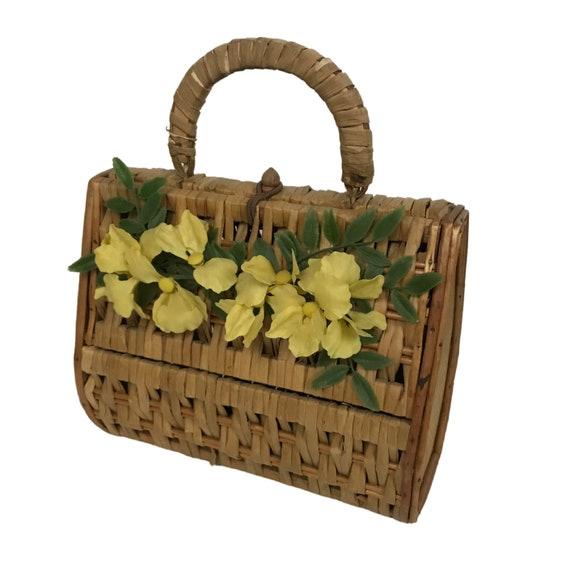1960s Wicker Basket Handbag / Woven Wood Box Purse