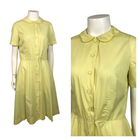 1960s House Dress / 60s Yellow Button Up House Dre