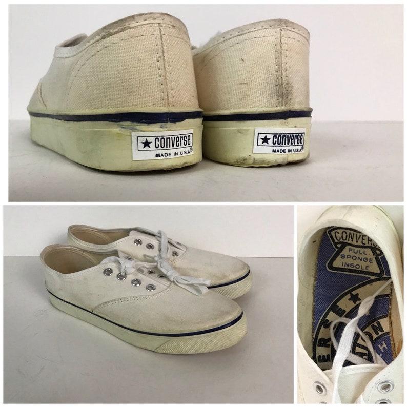 a11ab9b7cc0c Vintage NOS 1960s Converse White Label All White Canvas Lace Up Tennis Shoes    W... Vintage NOS 1960s Converse White Label All White Canvas Lace Up  Tennis ...