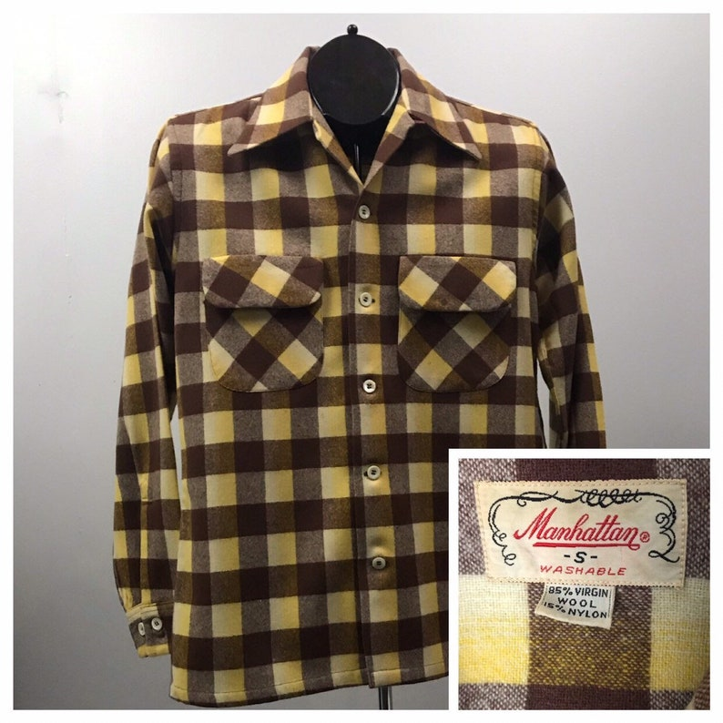 e655662975b948 1950s Wool Shirt   50s Brown and Yellow Plaid Wool Loop Collar