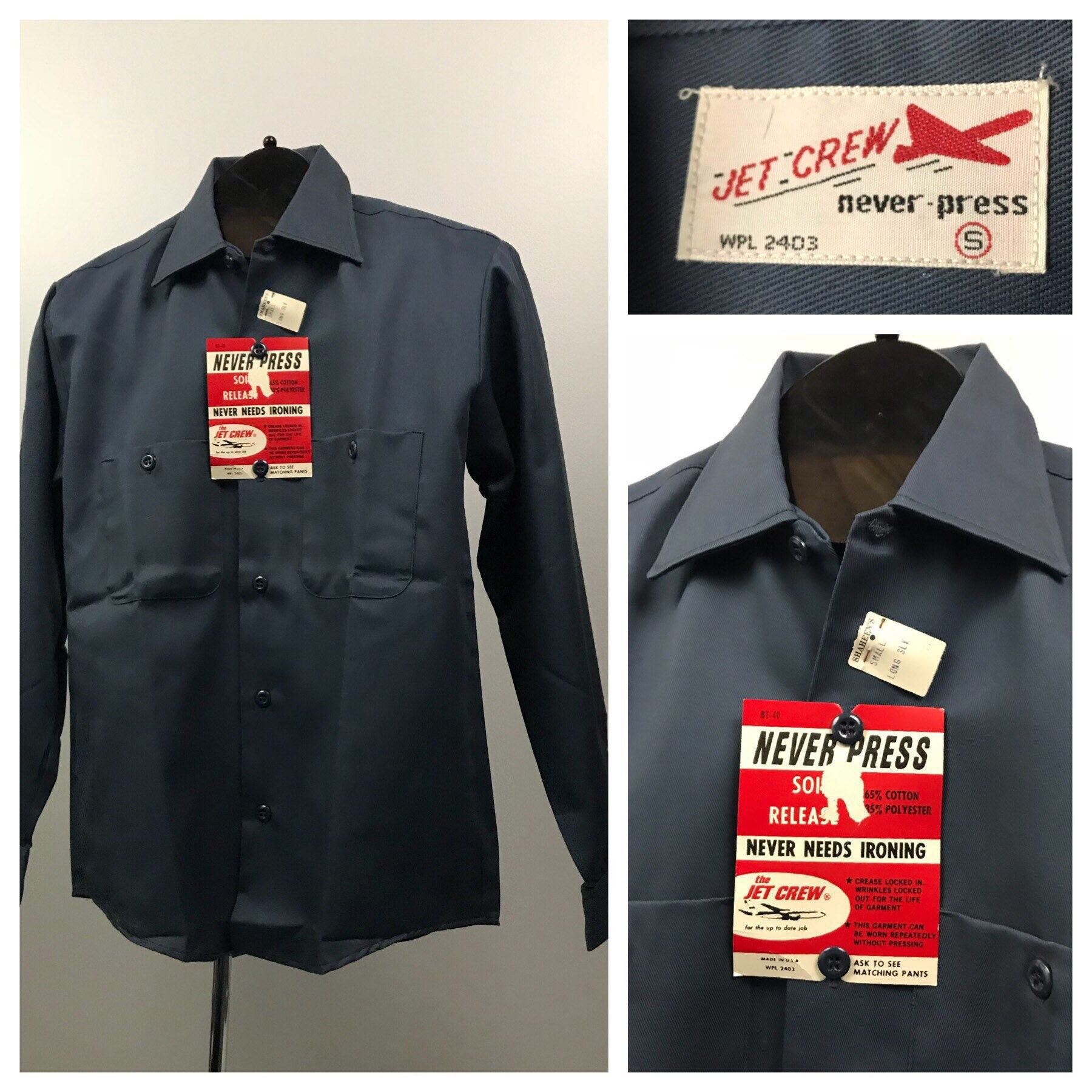 competitive price c9a39 0f81b Vintage NOS 1950s 1960s Jet Crew Blue Open Collar Button Down   Etsy