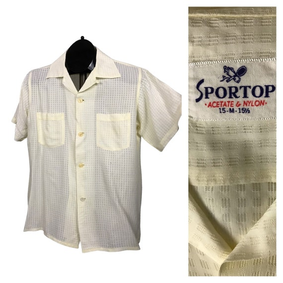 1950s Mens shirt / White Sheer Nylon Loop Collar S