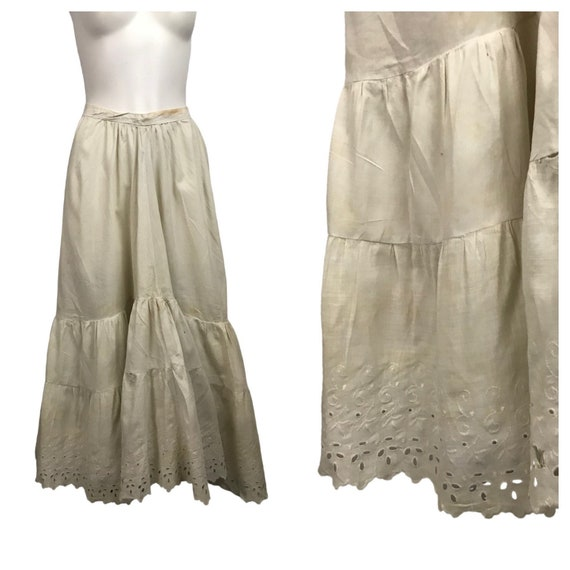 1910s White Slip Skirt / Antique Embroidery A Line