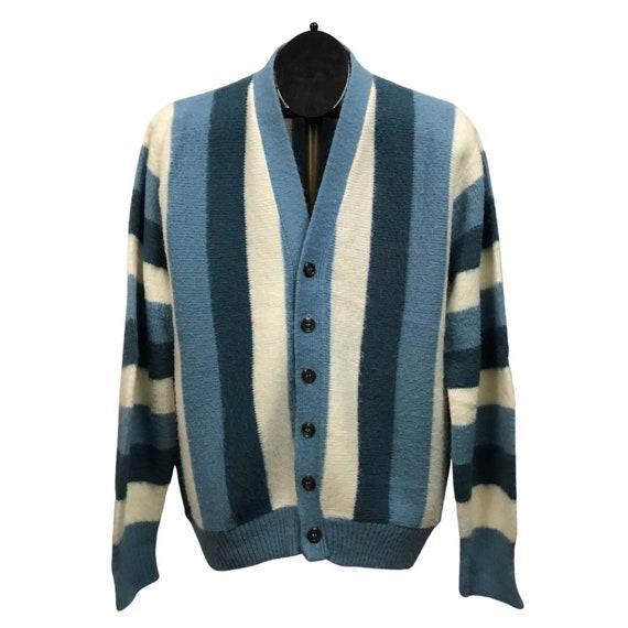 1960s Cardigan Sweater / 60s Mod Stripe Button Up