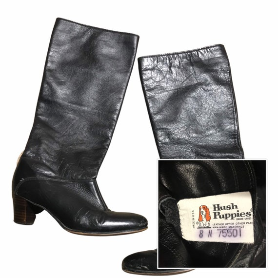 1970s Black Leather Knee Boots / Slip on Soft Leat