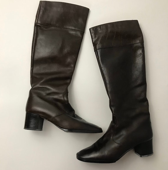 1960s Leather Boots / 60s Zip Up Brown Leather Kne