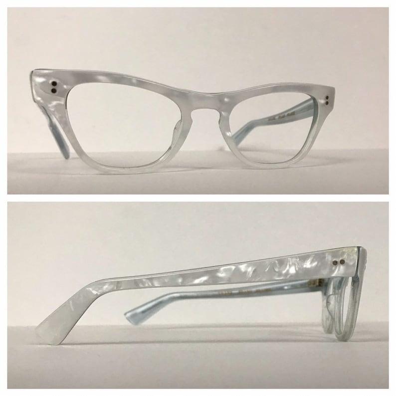 1950s Cat Eye Glasses / 50s White Onyx Cateye Frames Rockabilly / Women's M/L