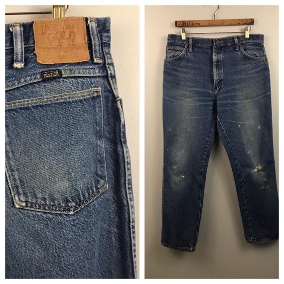 1980s Distressed Jeans  / 80s Dark Blue Retro Rust