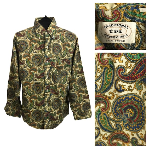 1960s Paisley Button Down Shirt/ 60s Mod Button Do