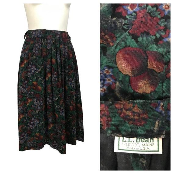 1980s Skirt / LL Bean Cotton Novelty Fruit Print F