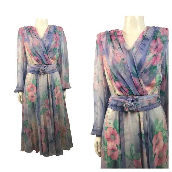 1980s Ursula of Switzerland Floral Dress / 80s Des