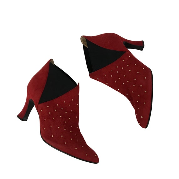 Vintage Red Studded Ankle Boots / 1990s Pointy To… - image 4